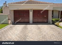 Wooden Brown Double Garage Doors Big Stock Photo 44523130 ...