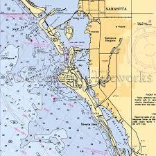 Sarasota Bay Nautical Chart Florida Point Of Rocks Sarasota Lido Key Nautical Chart Decor