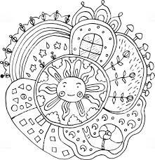 Kid Getekende Mandala Met Elementen Van De Zon En De Natuur Doodle