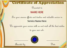 Certificate Of Appreciate 20 Free Certificates Of Appreciation For Employees