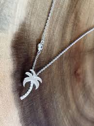 details about 925 sterling silver palm tree pendant necklace