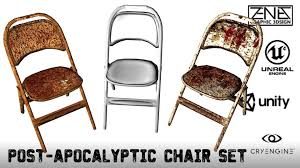 set of folding chairs. Post-apocalyptic Folding Chair Set -- Game-ready 3d Model Low-poly Of Chairs