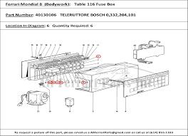 ferrari part number teleruttore bosch  ferrari part number 40130106 teleruttore bosch 0 332 204 101 shown here as used in a ferrari mondial 8 1981 bodywork table 116 fuse box