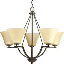 progress lighting bravo 5 light antique bronze transitional etched glass shaded chandelier