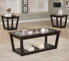 fenmore brown glass coffee table set