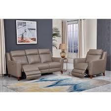 taupe leather power reclining sofa and