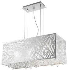 white fabric shade crystal modern drum. Brilliant Modern High Gloss Modern 6 Light Chrome Rectangle Drum Shade Clear Crystal  Chandelier In White Fabric B