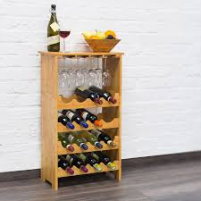 Bamboo <b>Wine Rack</b> Bottle Holder Freestanding <b>Wooden Shelf</b> Wine ...