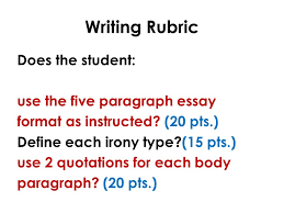english writing communication mr rinka lesson irony  writing rubric does the student use the five paragraph essay format as instructed