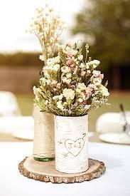wildflowers and birch wedding centerpiece ideas