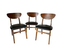 Vintage Victor Garrison 1960s Danish Mid Century Modern Chairs (3). Clam  Shell Back, Sculpted Wood Frame, Original Vinyl