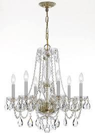 crystorama traditional crystal 6 light crystal brass chandelier v in polished brass upc 633779019821