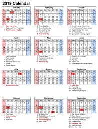 calendar year 2019 united states
