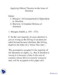 applying ethical theories to the issue of abortion ethics and this is only a preview