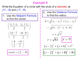 example 9 write the equation of a circle with the ends of a diameter at