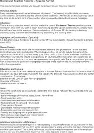 Montessori Teacher Resume Cover Letter For Teacher Example Cover