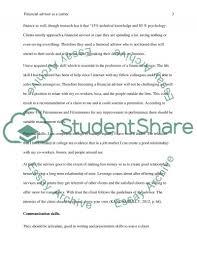 financial advisor as a career choice essay example topics and text