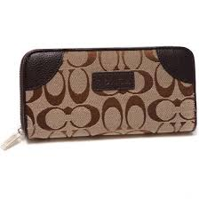 Coach Legacy Logo Signature Large Coffee Wallets DTW
