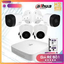 Trọn bộ 4 camera dahua Full HD 1080p + HDD 500G tặng kèm mỗi mắt camera 20m  dây liền nguồn đúc sẵn 2 đầu - Hệ thống camera giám sát Nhãn hàng Dahua
