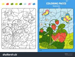 seasons coloring page kids june monthprintable stock vector