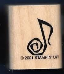 music note stamp music note swirl song tag stampin up 2001 wood craft hobby rubber