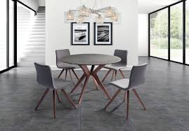 Redondo Round Dining Table Glass And Stone Top Solid Wood With