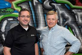 from near desperation a hiring sea change emerged at hirevue founder mark newman left and ceo kevin parker right lead south utah based hirevue which created a video based interview process designed to