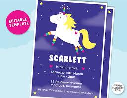sleepover template unicorn party invitation editable template girls birthday invitation