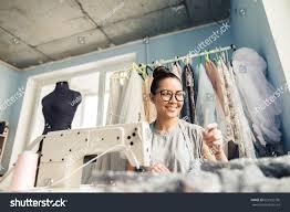 Fashion Designer Part Time Job Young Woman Sewing Sewing Machine Studio Stock Photo Edit