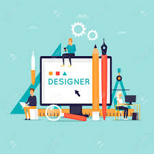 Vector Image Designer Designer Workplace And Tools Flat Design Vector Illustration