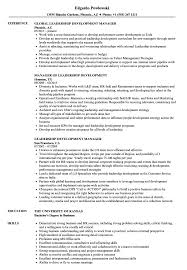 Leadership Resume Leadership Development Manager Resume Samples Velvet Jobs 80
