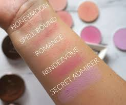 swatches of makeup geek old formula blush pans honeymoon spell bound romance rendezvous