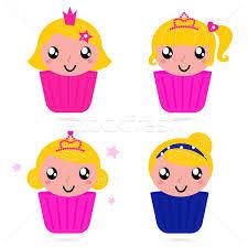 Cute Little Vector Princess Girls Cakes Set Vector Illustration
