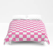 checkers pink and white duvet cover