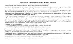 Formato De Hoja De Servicio Hoja De Registro Diario De Pacientes En Consulta