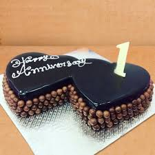 Send Happy Anniversary Double Heart Chocolate Cake Online By