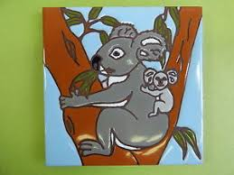 image is loading ceramic art tile 6 034 x6 034 cute  on ceramic wall art tiles australia with ceramic art tile 6 x6 cute koala bear with baby australia wall