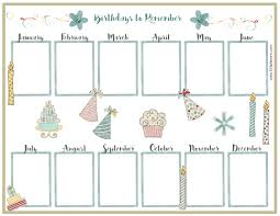 Birthday Calendar Template Free Birthday Calendar 1