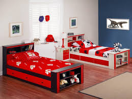 Red And Brown Bedroom Red And Brown Wooden Bed With Grey Bed Sheet Connected By Also