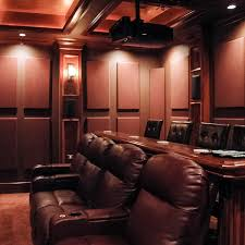 home theater using absorptive soundsued acoustic wall panels soundsuede fabric wred b trap acoustical solutions