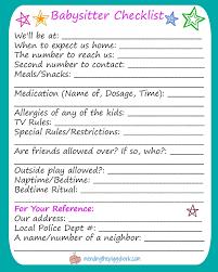 babysitter information sheet printable free printable babysitter checklist mending the piggy bank