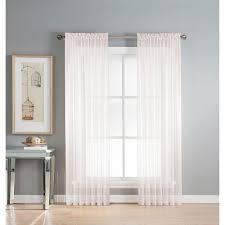 window elements sheer diamond sheer voile extra wide 84 in l rod pocket curtain panel 2