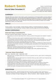 Internet Sales Consultant Resume Samples Qwikresume