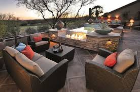 outdoor furniture decor. Outdoor Furniture With Fireplace And Small Hot Tub - Sonoran Desert Decor