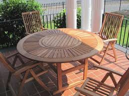 wooden patio set wood furniture great table new appealing unpolished teak round of