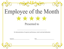 Printable Employee Of The Month Certificates Employee Of The Month Award Kukook
