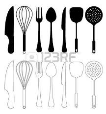 kitchen utensils vector. Kitchen Utensils - Vector, Isolated On White, Utensil Silhouette  Collection Stock Photo Kitchen Vector