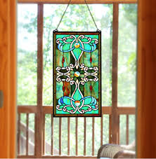 stained glass window panel tiffany style hanging wall home art decor 15 x 26