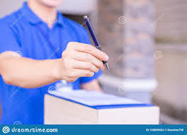Delivery Man Giving A Pen And Invoice Bill To Customer