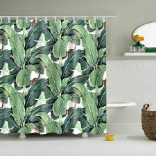 details about large green leaves polyester waterproof bathroom fabric shower curtain 12 hook